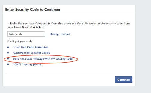 send facebook security code to phone