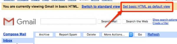 set gmail basic html for compact view new gmail look