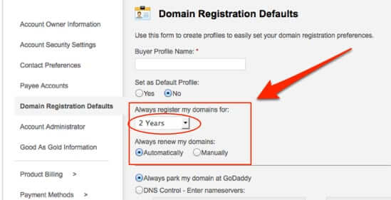 set godaddy domain renewal default domain registratin defaults account settings how to change default domain renewal godaddy