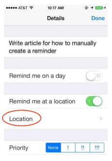 set iphone location based reminder manually