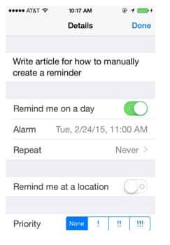 set manual time-based reminder iphone