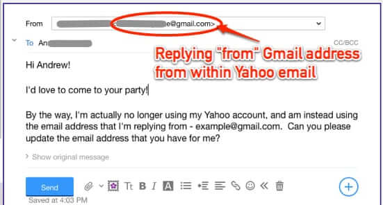 set reply from send as email address yaho