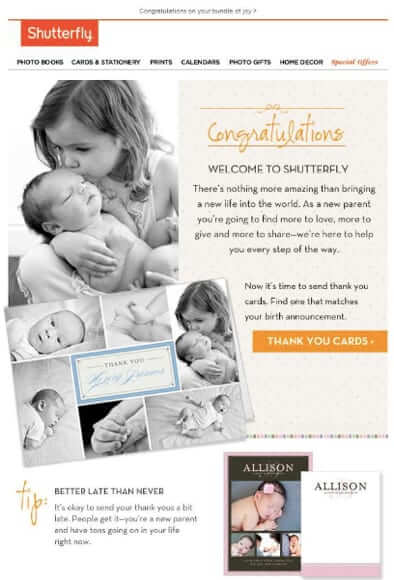 shutterfly new baby email