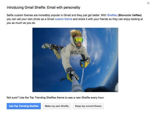gmail shelfie selfie for April Fools