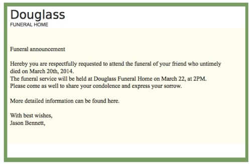 New Death Notice Phishing Spam from Douglass Funeral Home