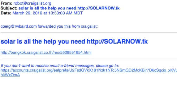 Got Spam from Robots@Craigslist.org? Don't Click on It!