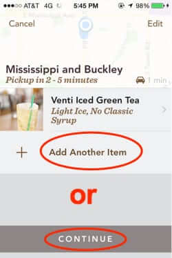 starbucks mobile order and pay add more or continue