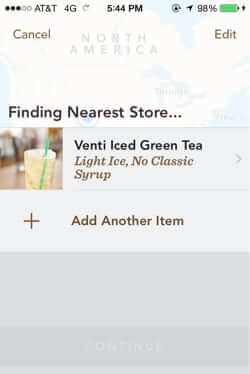 starbucks mobile order and pay finding location nearest store