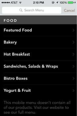 starbucks mobile order pay food menu