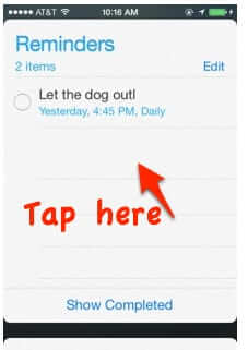 start new reminder manually iphone
