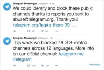 telegram app blocking isis twitter