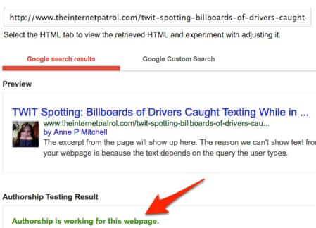 test if google authorship is working