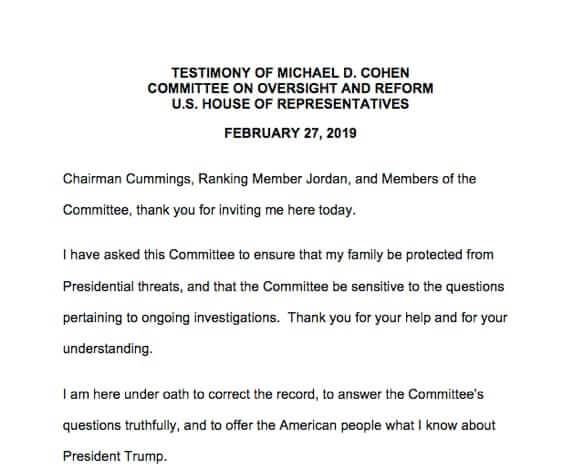 Online Full Text of Michael Cohen's 2/27/19 Testimony Before the Committee on Oversight and Reform