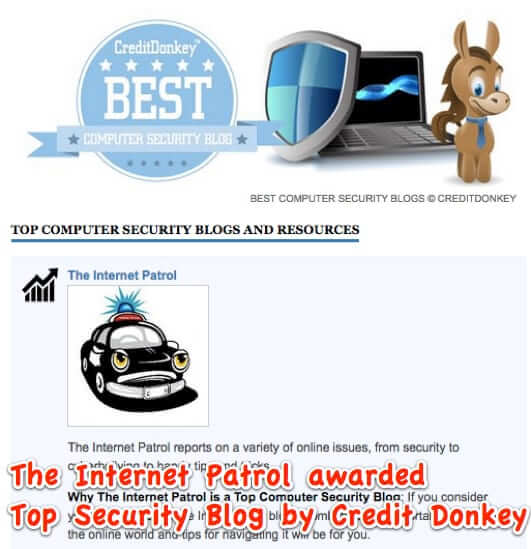 The Internet Patrol Voted Top Security Blog by Credit Donkey