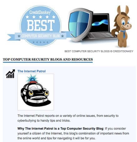 the internet patrol voted top computer security blog by credit donkey