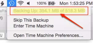 time machine is backing up
