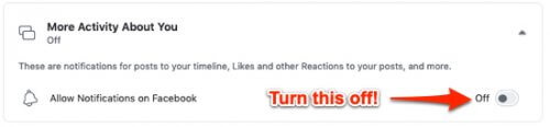 turn off like notifications on Facebook