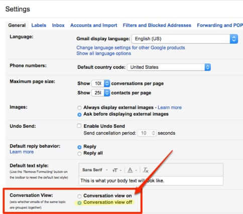 turn off threading threaded conversation view gmail