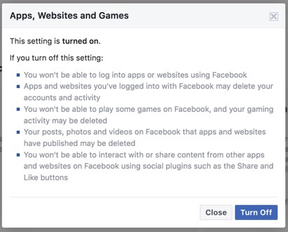 turn off website and app tracking facebook