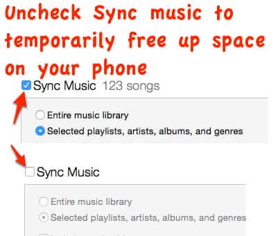 uncheck sync music to free up space on iphone