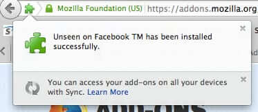 unseen on facebook for firefox successfully installed