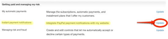 update paypal instant payment notifications ipn settings