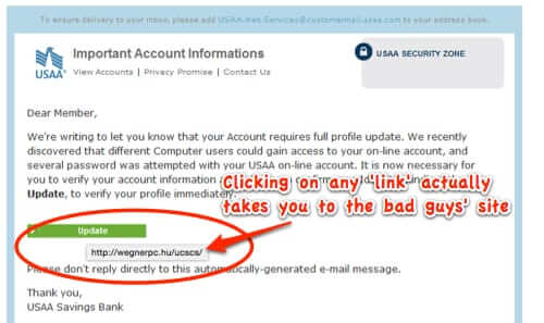 usaa spam phishing