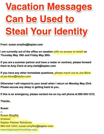 Vacation Messages a Great Way for Scammers to Steal Your Identity