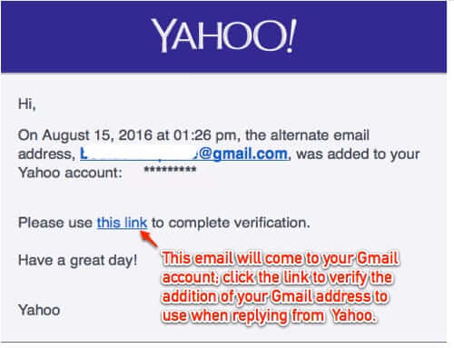 verify gmail address yahoo