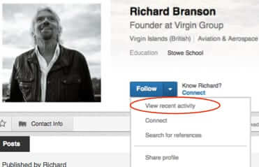 view recent activity richard branson linkedin