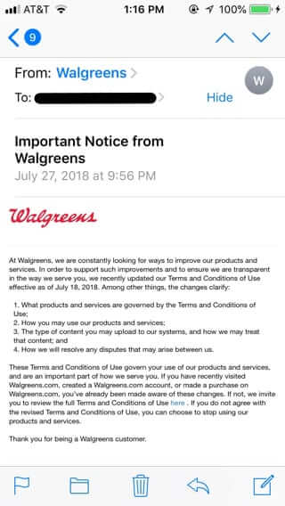 walgreens email july 2018
