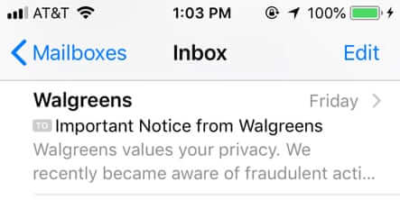 walgreens values your privacy we recently became aware of fraudulent activity small