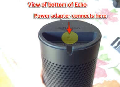 where to connect power cord amazon echo