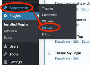 wordpress appearance menus settings