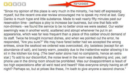yelp review from 2005