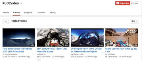 youtube 360 channel
